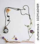 Clock On A Chain  Dried Flower...