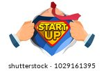 startup sign vector. superhero... | Shutterstock .eps vector #1029161395