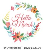 wreath of colorful wildflower... | Shutterstock . vector #1029162109