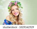 beautiful blonde woman with... | Shutterstock . vector #1029162529