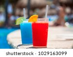 tropical drinks at the swimming ... | Shutterstock . vector #1029163099
