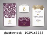 wedding invitation or greeting... | Shutterstock .eps vector #1029165355