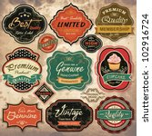 Stock vector collection of vintage retro grunge labels badges and icons 102916724
