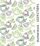 hand drawn doodle tea pattern... | Shutterstock .eps vector #1029175891
