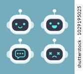 cute robot head avatar set.... | Shutterstock .eps vector #1029195025