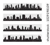 vector black city silhouette... | Shutterstock .eps vector #1029198109