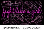 fight like a girl word cloud on ... | Shutterstock .eps vector #1029199234