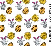 beautiful easter egg rabbit... | Shutterstock .eps vector #1029199861