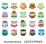 20 cute and sweet owls  simple... | Shutterstock .eps vector #1029199969