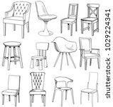 set of sketch of chair | Shutterstock .eps vector #1029224341
