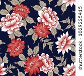 floral pattern  on navy | Shutterstock .eps vector #1029225415