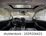 dark car interior   steering... | Shutterstock . vector #1029226621
