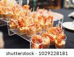 little plastic glasses with... | Shutterstock . vector #1029228181