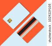 bank credit card mockup vector... | Shutterstock .eps vector #1029229105