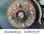 A Car Brake Disc and Calliper Assembly - stock photo