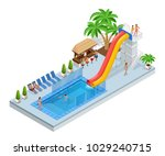isometric aqua park with water... | Shutterstock .eps vector #1029240715