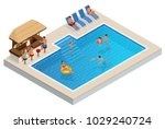 isometric aqua park with bar ... | Shutterstock .eps vector #1029240724