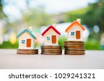 miniature colorful house on... | Shutterstock . vector #1029241321