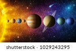 Small photo of Solar system planet, comet, sun and star. Elements of this image furnished by NASA. Sun, mercury, Venus, planet earth, Mars, Jupiter, Saturn, Uranus, Neptune. Science and education background.