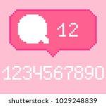 vector pixel 8 bit pink bubble... | Shutterstock .eps vector #1029248839