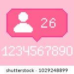 vector pixel 8 bit pink bubble... | Shutterstock .eps vector #1029248899