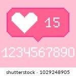 vector pixel 8 bit pink bubble... | Shutterstock .eps vector #1029248905