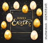 golden easter eggs with... | Shutterstock .eps vector #1029255145