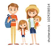 cartoon family on vacation | Shutterstock .eps vector #1029258514