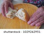 woman hands holding keep bread. ... | Shutterstock . vector #1029262951