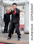 London, United Kingdom, 18th Febuary 2018:- Martial art demonstrations as part of the festivities to celebrate Chinese New Year in London's Chinatown area, for the year of the dog 2018 - stock photo