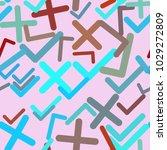 seamless abstract tick or cross ...   Shutterstock .eps vector #1029272809