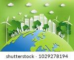 paper art style of landscape... | Shutterstock .eps vector #1029278194