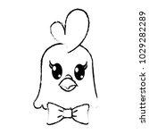 grunge hen head cute animal... | Shutterstock .eps vector #1029282289