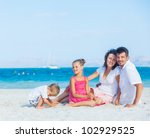 family of four having fun on... | Shutterstock . vector #102929525