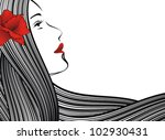 abstract young woman face  red...   Shutterstock .eps vector #102930431