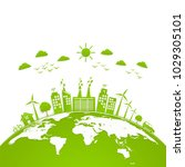 ecology concept with green city ... | Shutterstock .eps vector #1029305101