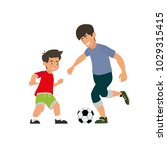 father and son play football....   Shutterstock .eps vector #1029315415