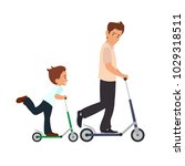 dad and son skate on scooters.... | Shutterstock .eps vector #1029318511