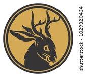 jackalope head circle gold | Shutterstock .eps vector #1029320434