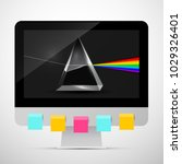personal computer with prism on ... | Shutterstock .eps vector #1029326401