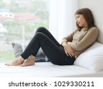 young asian woman in pain with... | Shutterstock . vector #1029330211
