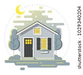 small house and beautiful rural ... | Shutterstock .eps vector #1029340204