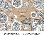 breakfast cardboard background. ... | Shutterstock .eps vector #1029349834