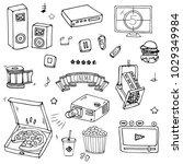 hand drawn doodle cinema set.... | Shutterstock .eps vector #1029349984