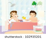 young couple bathing together... | Shutterstock .eps vector #102935201