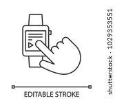 smartwatch linear icon. digital ... | Shutterstock .eps vector #1029353551