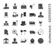 cargo shipping glyph icons set. ... | Shutterstock .eps vector #1029353575