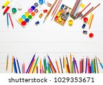 row of multicolored pencils and ... | Shutterstock . vector #1029353671
