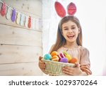 cute little child wearing bunny ... | Shutterstock . vector #1029370264