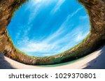 playa del amor hidden beach... | Shutterstock . vector #1029370801